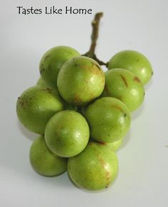Ginep (aka Spaniah lime) - a round one-inch Caribbean fruit with green leathery skin and sweet juicy translucent pulp; eaten like grapes