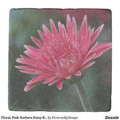 Floral, Pink Gerbera Daisy Bloom Stone Coaster