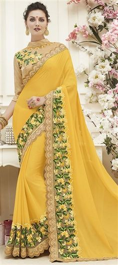 732286 Yellow color family Embroidered Sarees, Party Wear Sarees in Faux Georgette fabric with Border, Machine Embroidery, Thread work with matching unstitched blouse. Chiffon Saree, Saree Dress, Saree Blouse Patterns, Saree Blouse Designs, Indian Attire, Indian Outfits, Saree Designs Party Wear, Style Indien, Indische Sarees