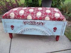Convert an old dresser drawer into an ottoman. General Finishes Milk Paints come in a variety of colors at Woodcraft like this Persian Blue, and Brick Red combo.