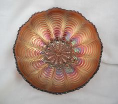 EAPG Fenton Carnival Glass Peacock Tail Bowl by gasman201 on Etsy, $55.00