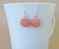 Rose gold crochet drop ball earrings. Handmade crochet by ByDrora, $25.00