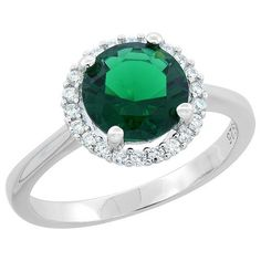 $165.25 USD, Sterling Silver Round Emerald Ring Halo CZ Rhodium by WorldJewels
