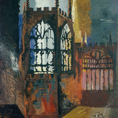 Coventry Cathedral, November, 1940 by John Piper Edward Hopper, John Piper Artist, Kitsch, Coventry Cathedral, A Level Art, Original Art For Sale, Urban Landscape, Landscape Paintings, Landscapes
