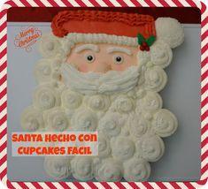 Santa Hecho Con Cupcakes Facil - YouTube