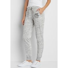 maurices Spacedye Jogger Sweatpant With 1980 California Graphic,... ($29) ❤ liked on Polyvore featuring activewear, activewear pants, cotton sweatpants, maurices, jogger sweat pants, sweat pants and cotton sweat pants