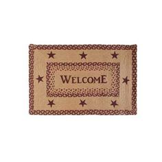 Burgundy Tan Jute Rectangle Welcome Rug 20 x 30 from VHC Brands (Victorian Heart). The Welcome rug measures 20 x 30 rectangle, jute. The center of the rug Kitchen Area Rugs, Tan Rug, Braided Rugs, Jute Rug, Vintage Country, Home Fragrances, Wool Area Rugs, Seasonal Decor, Decorative Pillows