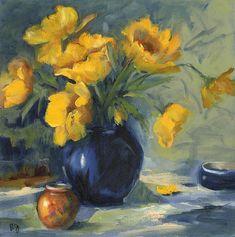 blue vase/ yellow flowers
