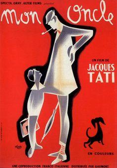 Mon Oncle [Mr Hulot] Mon Oncle Tati, Mon Oncle Jacques Tati, Films Étrangers, Comedy Movies, Oscar Film, Vintage Movies, Vintage Posters, Retro Posters, Cool Posters