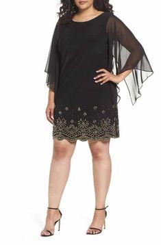 48900eb8f96 Reduce Xscape Embellished Chiffon Shift Dress (Plus Size) Holiday Dresses
