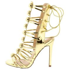 MYA111 GOLD OPEN TOE REAR LACE UP GLADIATOR STILETTO HEEL (€0,86) ❤ liked on Polyvore featuring shoes, stiletto shoes, gladiator wedge shoes, gold gladiator shoes, gold flat shoes and flat pumps