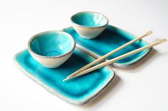 Sushi Set Sushi Dish Four Pieces Serving Set for Two by bemika, $30.00