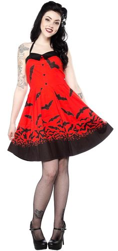 SOURPUSS SPOOKSVILLE BATS DRESS RED