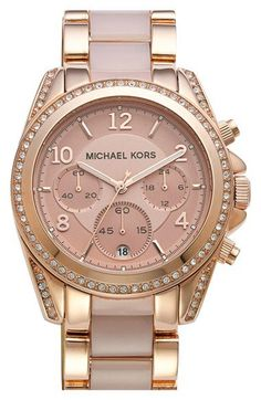 Free shipping and returns on MICHAEL Michael Kors Michael Kors 'Blair' Crystal Bezel Two-Tone Bracelet Watch, 39mm at Nordstrom.com. A beautiful rose-gold finish and blush-hued center links combine in this sophisticated bracelet watch topped with a round chronograph case traced in glimmering crystals.