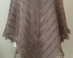ClearanceReady2Ship Poncho--Cozy Taupe Crochet Poncho--fits M/L/XL