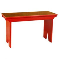 "Add a pop of color to your entryway or sunroom with this handmade wood bench, showcasing a natural wood top and vibrant red base.  Product: BenchConstruction Material: WoodColor: RedFeatures: HandmadeDimensions: 19"" H x 32"" W x 12"" D"
