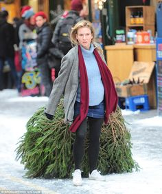 Feeling festive:Renee Zellweger dragged a Christmas tree through London's snowy streets on Tuesday as she continued filming scenes for Bridget Jones' Baby