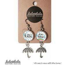 Steel earrings with umbrella and rainbow - Orecchini in acciaio con pendenti  It can't di LeleleleCreations