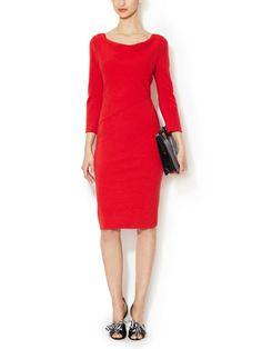 OSCAR DE LA RENTA - Wool Draped Boatneck Dress