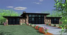 This small modern home has all the light, drama, and intimacy that you could want in a house plan. The exterior is clean and balanced with a modern taste. House Plans One Story, Best House Plans, Story House, Small Modern House Plans, Modern House Design, Contemporary Home Plans, Contemporary Style Homes, Bedroom House Plans, Good House