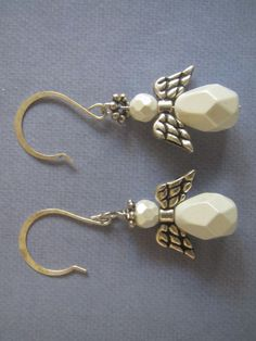 White Christmas angel earrings by Unlost and Found Jewelry.