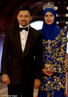 Crown prince Billah and Princess Sarah of Brunei at the gala banquet host by Queen Beatrix of Holland