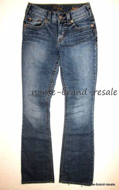 232c198e378 SILVER JEANS SUKI Womens 25 x 34 Faded Wash Boot Leg Bootcut Embroidered  Pockets  SilverJeans