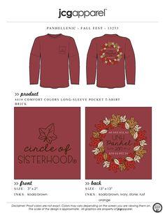 JCG Apparel : Custom Printed Apparel : Panhellenic Fall Fest T-Shirt #panhellenic #fall #fest #circleofsisterhood #leaves #handdrawn