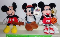 Disney Mickey Mouse Store Plush Beanie Dolls Lot of 3 Different