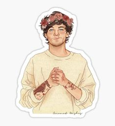 Tommo Flower crown Art Print by Coconut Wishes - X-Small Arte One Direction, One Direction Drawings, One Direction Pictures, Harry Styles Dibujo, Harry Styles Drawing, Louis Tomlinsom, Louis And Harry, Harry Styles Zeichnung, Imprimibles One Direction