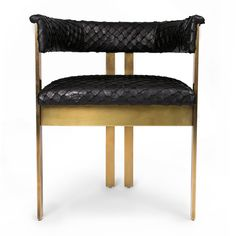 """KELLY WEARSTLER   ELLIOTT CHAIR IN PIRARUCU FISH. Crafted in leather and 1/2"""" solid bronze stock. Perfect as a desk or dining chair."""