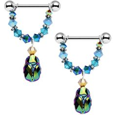Egyptian Scarab Dangle Nipple Ring Set Created with Swarovski Crystals