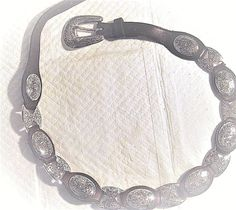 "WOMEN'S S 30"" WESTERN STYLE WITH SILVER TONE METAL & BROWN LEATHER BELT- 1996  #1996 #HingedMetalLeather"