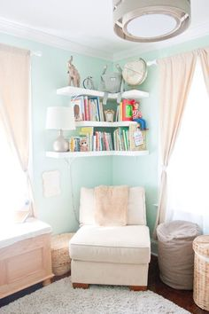 5 Simple and Crazy Tips Can Change Your Life: Floating Shelves Diy For Books glass floating shelves interiors.Ikea Floating Shelves Bar how to make floating shelves beds.Floating Shelves Over Bed Desks. Girl Room, Girls Bedroom, Bedrooms, Master Bedroom, Master Bath, Nursery Room, Nursery Decor, Curtains In Nursery, Nursery Ideas