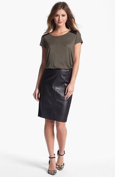 Faux Leather Yoke Tee #NSale