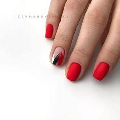 Nail Art Cute, Cute Nails, Pretty Nails, Red Nail Art, Minimalist Nails, Hair And Nails, My Nails, Short Red Nails, Asian Nails