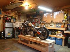 Convert Your Garage into a Man Cave - Man Cave Home Bar Motorcycle Workshop, Motorcycle Shop, Motorcycle Garage, Diy Garage Storage, Garage Shelving, Garage Organization, Organized Garage, Workshop Organization, Shop Storage