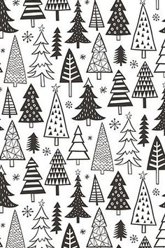 Colorful fabrics digitally printed by Spoonflower - Christmas Holiday Forest Trees Black White Christmas Holiday Forest Trees Black White by caja_design - Hand illustrated black and white christmas trees on fabric, wallpaper, and gift wrap Christmas Doodles, Christmas Paper Crafts, Christmas Drawing, Christmas Art, Holiday Crafts, Christmas Holidays, Christmas Decorations, Christmas Design, How To Draw Christmas Tree