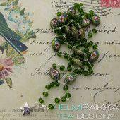 Vihreä cloisonne kaulakoru ovaalit helmet 40€