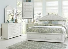 Liberty Furniture Summer House I Collection Bedroom Set with Queen Storage Bed, Dresser, Mirror and Chest in Oyster White Finish King Storage Bed, Bedroom Storage, Bedroom Organization, King Size Bedroom Sets, Dreams Beds, Liberty Furniture, Ikea Bedroom, Bedroom Furniture, Modern Furniture