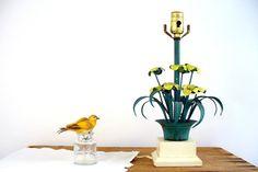 Vintage Tole Floral Lamp, Spring Home Decor by BirdinHandVTG #lighting