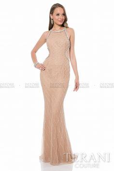 Lindo Vestido de Festa em Net com Bordados em Net e Cut Outs Terani 1612P0535A