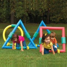 Foam Geometric Shaped Obstacles. Can be made with pool noodles. What a fun way to learn shapes!