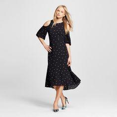Women's Cold Shoulder Midi Dress Black Polka Dot Xxl - Who What Wear