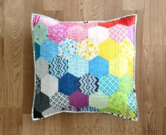 Modern Handcraft // Rainbow Hexagon Pillow