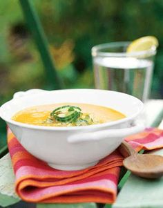 Carrot Soup with Cucumber Pistachio Relish