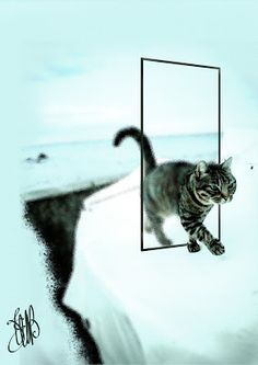 """CREATIONS by  ELIBET6.: Wall Art """"Le chat through the  portal """"."""
