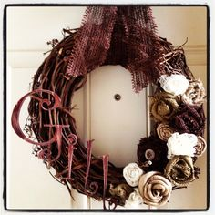 Autumn wreath with burlap flowers and lace