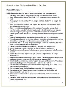 Printables Civil War Worksheet civil war timeline worksheet homework printable wars these video worksheets hold students accountable while watching american experience reconstruction the second