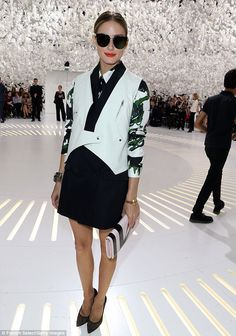 Fashionista: The star of The City looked ready for the catwalk as she posed at the Dior fashion show on Monday